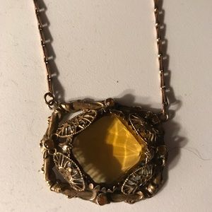 Jewelry - Vintage Filigree Necklace with Faceted gold stones